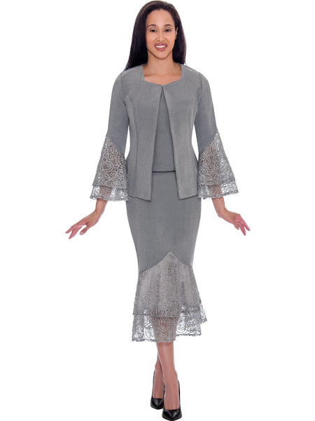 DS62143 Devine Sport Silver Soft Stretch Denim Church Skirt Suit