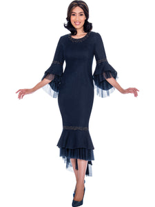 DS62171 Devine Sport Navy Soft Stretch Denim Church Dress