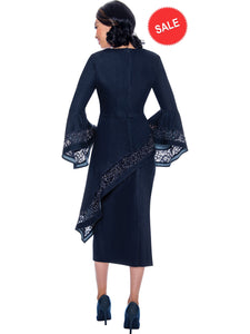 DS62242 Navy Soft Stretch Denim Skirt Set for Church