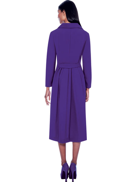 G11573 Purple Pleated Back Usher Dress, Church, Choir, Group Uniform