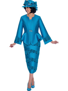 GMI G7442 Women's Turquoise Church Suit, Special Occasion Skirt Suit, Mother of the Bride