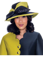 GMI G7472 Navy/Lime Hat for Church Suit, Special Occasion Skirt Suit, Mother of the Bride