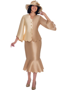 GMI G7472 Champagne Church Suit, Special Occasion Skirt Suit, Mother of the Bride