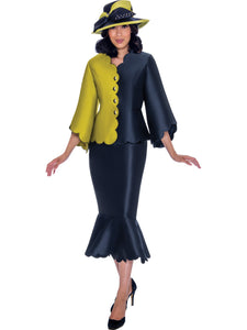 GMI G7472 Navy/Lime Church Suit, Special Occasion Skirt Suit, Mother of the Bride