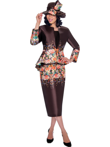 GMI G7483 Brown Church Suit, Special Occasion Skirt Suit, Mother of the Bride