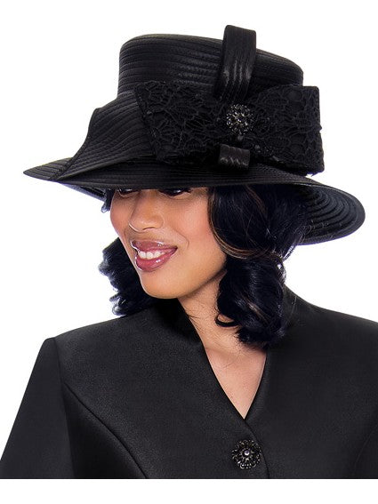 GMI G7552 Black Hat for Church Suit, Special Occasion Skirt Suit, Mother of the Bride