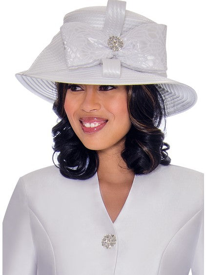 GMI G7552 White Hat for Church Suit, Special Occasion Skirt Suit, Mother of the Bride