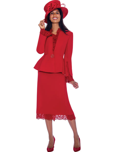 GMI G7563 Red Church Suit, Special Occasion Skirt Suit, Mother of the Bride