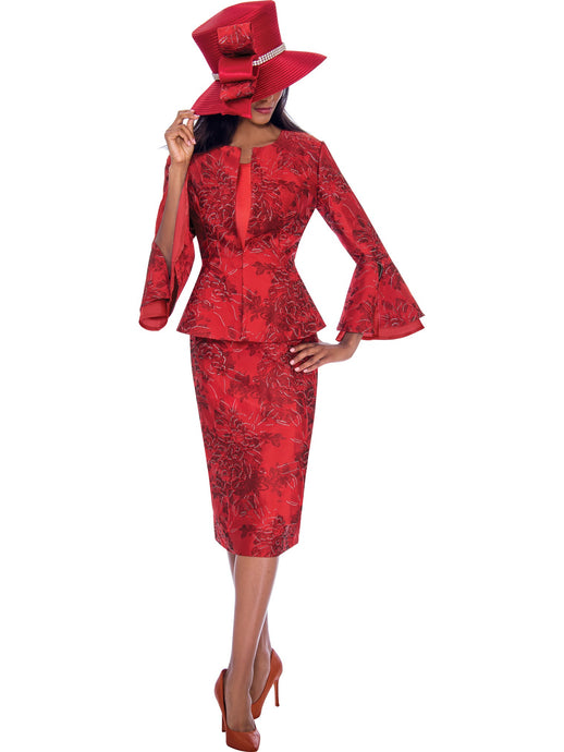 GMI G7593 Red Church Suit, Special Occasion Skirt Suit, Mother of the Bride