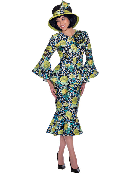 GMI G7602 Green Church Suit, Special Occasion Skirt Suit, Mother of the Bride