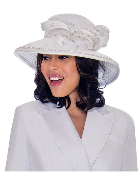 GMI G7612 White Hat for Church Suit, Special Occasion Skirt Suit, Mother of the Bride