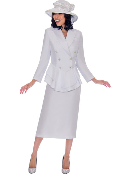 GMI G7612 White Church Suit, Special Occasion Skirt Suit, Mother of the Bride