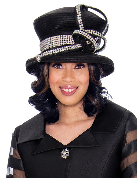 GMI G7632 Black Hat for Church Suit, Special Occasion Skirt Suit, Mother of the Bride