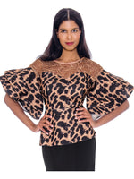 Rose Collection RC510 Animal Print Blouse – Church, Wedding, Holiday, Special Occasion