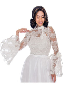 Rose Collection RC060 White Blouse – Church, Wedding, Holiday, Special Occasion