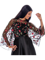 Rose Collection RC270 Black Blouse – Church, Wedding, Holiday, Special Occasion