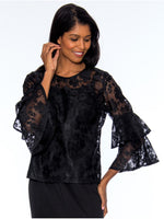 Rose Collection RC305X Black Blouse – Church, Wedding, Holiday, Special Occasion