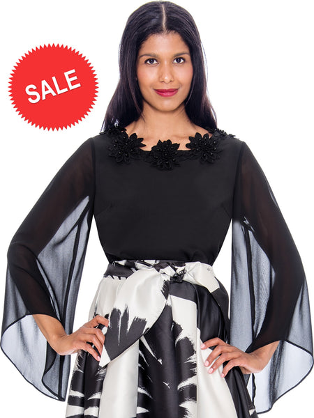 Rose Collection RC310 Black Blouse – Church, Wedding, Holiday, Special Occasion