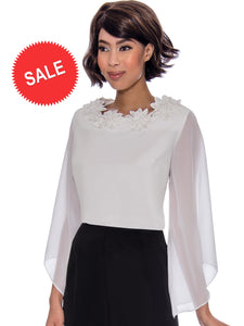 Rose Collection RC310 White Blouse – Church, Wedding, Holiday, Special Occasion