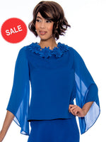 Rose Collection RC310 Royal Blue Blouse – Church, Wedding, Holiday, Special Occasion