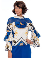 Rose Collection RC315 Royal Blue Blouse – Church, Wedding, Holiday, Special Occasion