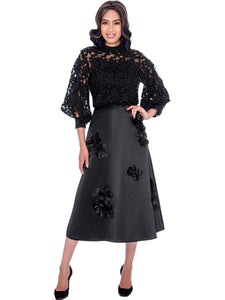 Rose Collection RC625 Black Blouse - Church, Wedding, Holiday, Special Occasion