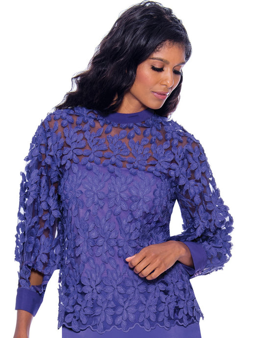 Rose Collection RC625 Purple Blouse - Church, Wedding, Holiday, Special Occasion
