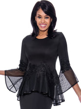 Rose Collection RC630 Black Blouse – Church, Wedding, Holiday, Special Occasion