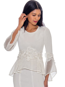 Rose Collection RC630 Off White Blouse – Church, Wedding, Holiday, Special Occasion