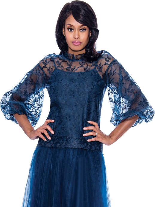 Rose Collection RC680 Navy Blouse – Church, Wedding, Holiday, Special Occasion