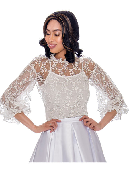 Rose Collection RC680X White Blouse – Church, Wedding, Holiday, Special Occasion