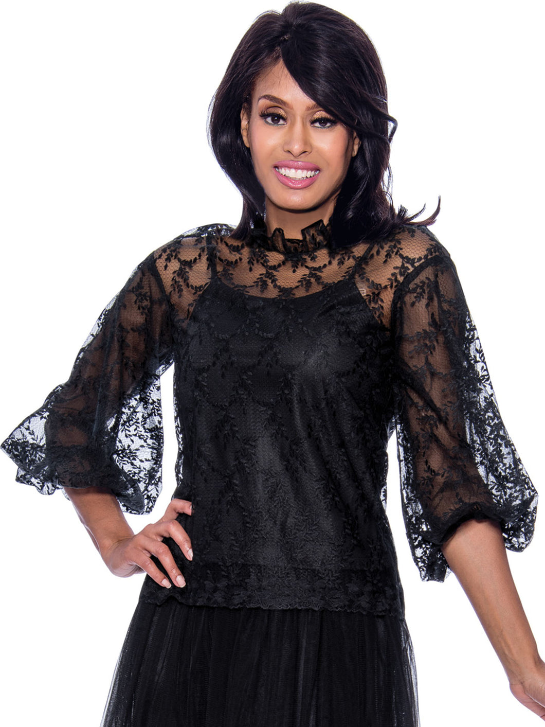 Rose Collection RC680 Black Blouse – Church, Wedding, Holiday, Special Occasion