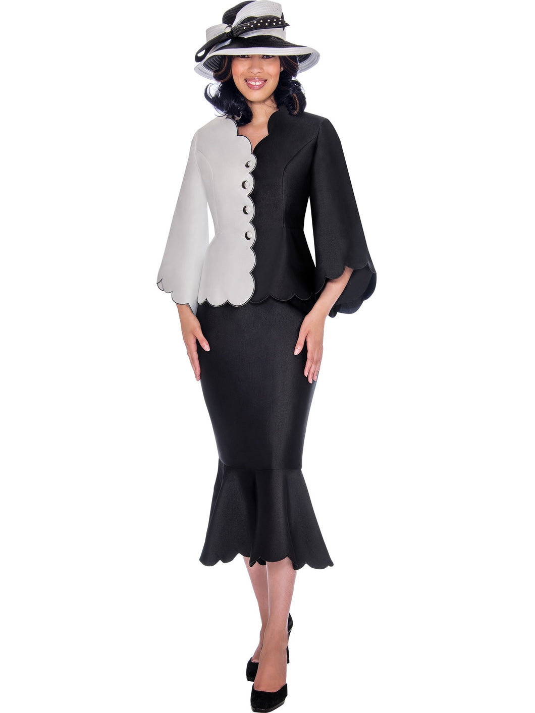 GMI G7472 Black/White Church Suit, Special Occasion Skirt Suit, Mother of the Bride