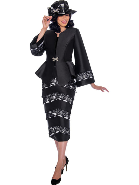 GMI G7442 Women's Black Church Suit, Special Occasion Skirt Suit, Mother of the Bride
