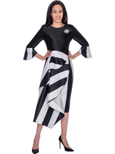 DN2751 Black/White Church or Special Occasion Dress, Dresses by Nubiano