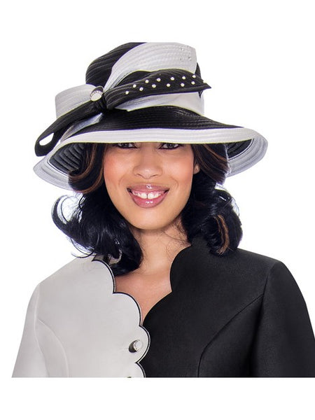 GMI G7472 Black/White Hat for Church Suit, Special Occasion Skirt Suit, Mother of the Bride