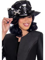 GMI G7442 Black/White Hat -  Church Suit, Special Occasion Skirt Suit, Mother of the Bride