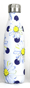 Gourde isotherme 500 ML PERSONNALISABLE (Motif Marguerites & Pois)