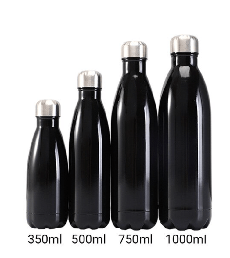 Gourde isotherme 350 / 500 / 750 / 1000 ML PERSONNALISABLE (Bright Black)