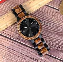 Load image into Gallery viewer, Cross Cut Ebony x Zebra Wood Watch