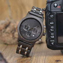 Load image into Gallery viewer, Chrono Ebony Wood Watch