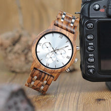 Load image into Gallery viewer, Chrono Zebra Wood Watch