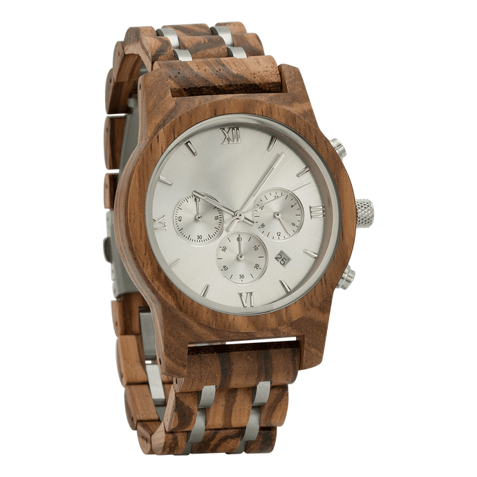Chrono Zebra Wood Watch