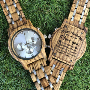 Engraved Wood Watch For Husband - Great Gift!