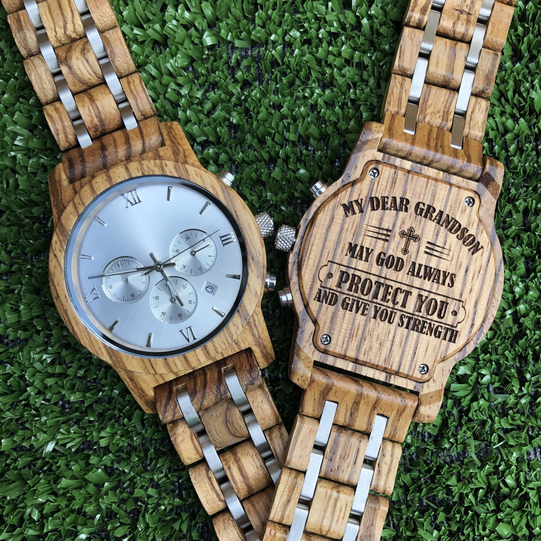 Engraved Wood Watch For Grandson - Great Gift!