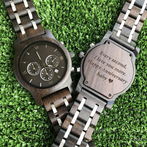 Chrono Ebony Wood Watch