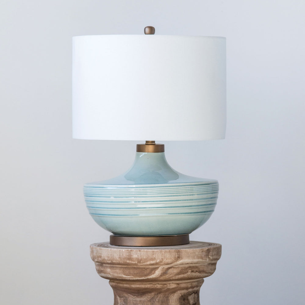 Aqua and Gold Table Lamp