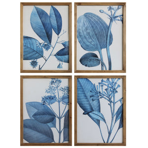 Framed Blue Botanical Wall Art (Set of 4)