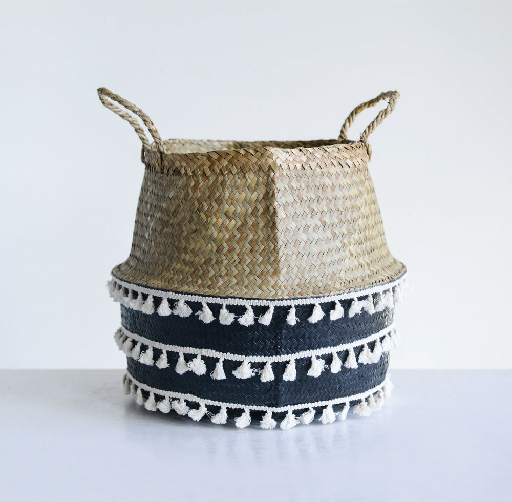 Beige & Black Seagrass Collapsible Basket
