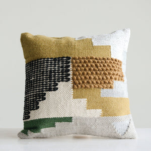 Handwoven White Wool Pillow